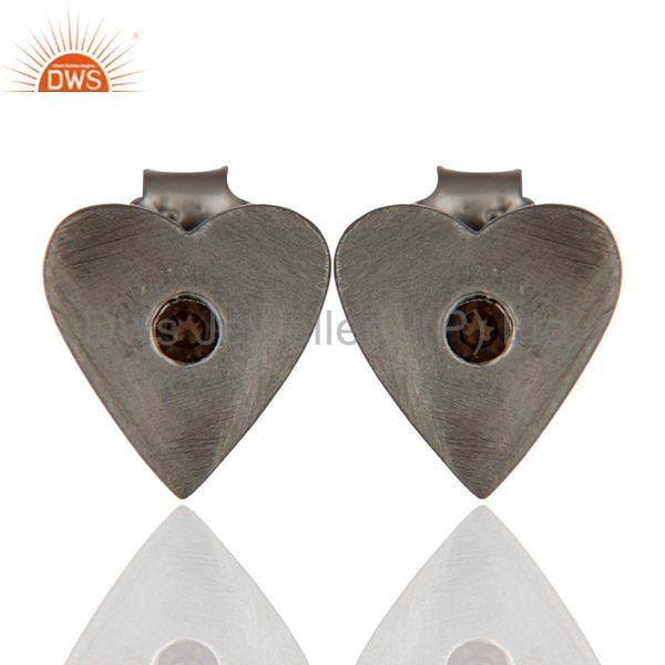 Black Rhodium Plated Brass Fashion Heart Design Stud Earrings Wholesale Jewelry