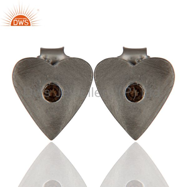 Black Rhodium Plated Sterling Silver Smoky Quartz Heart Stud Earrings For Womens