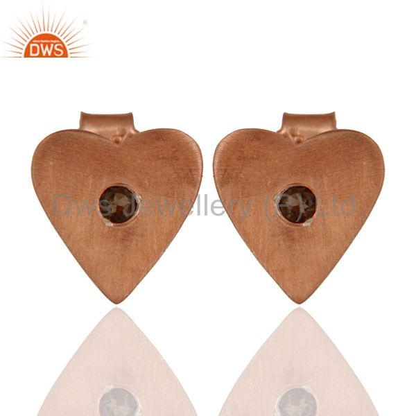 18K Rose Gold Plated Sterling Silver Smoky Quartz Heart Stud Earrings For Womens