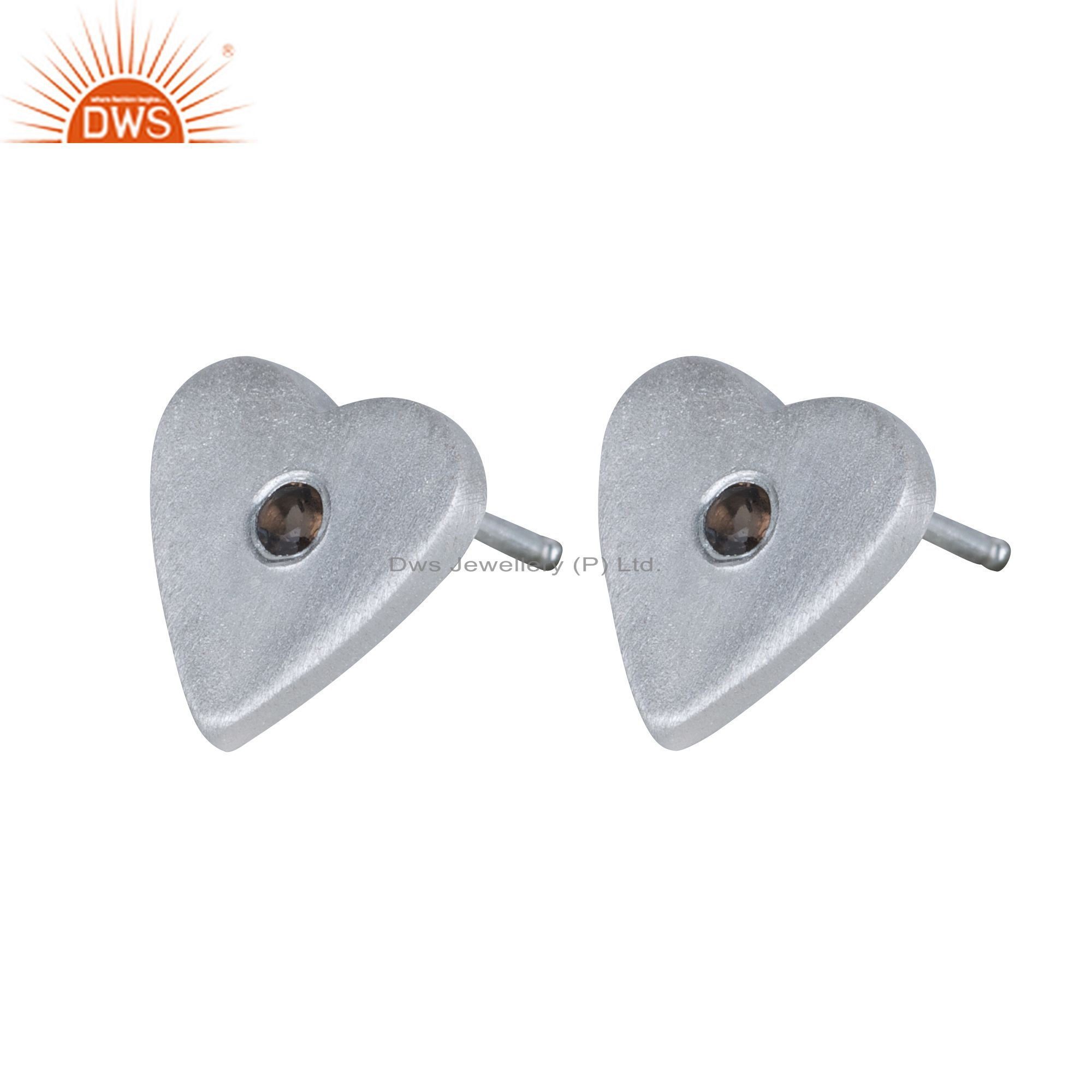 925 Solid Sterling Silver Smoky Quartz Gemstone Heart Stud Earrings For Her