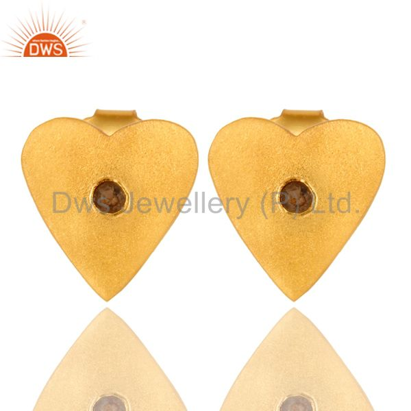 24K Yellow Gold Plated Sterling Silver Smoky Quartz Heart Stud Earrings