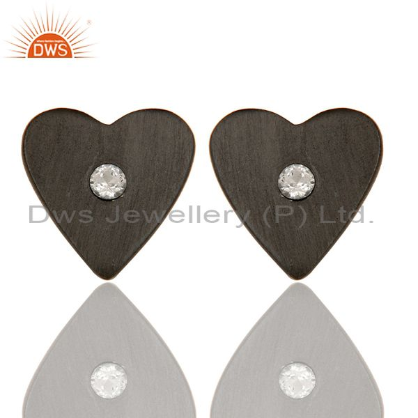 Oxidized Sterling Silver White Topaz Heart Stud Earrings For Her