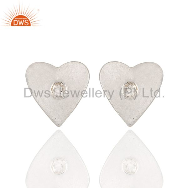 925 Solid Sterling Silver White Topaz Gemstone Heart Stud Earrings For Her