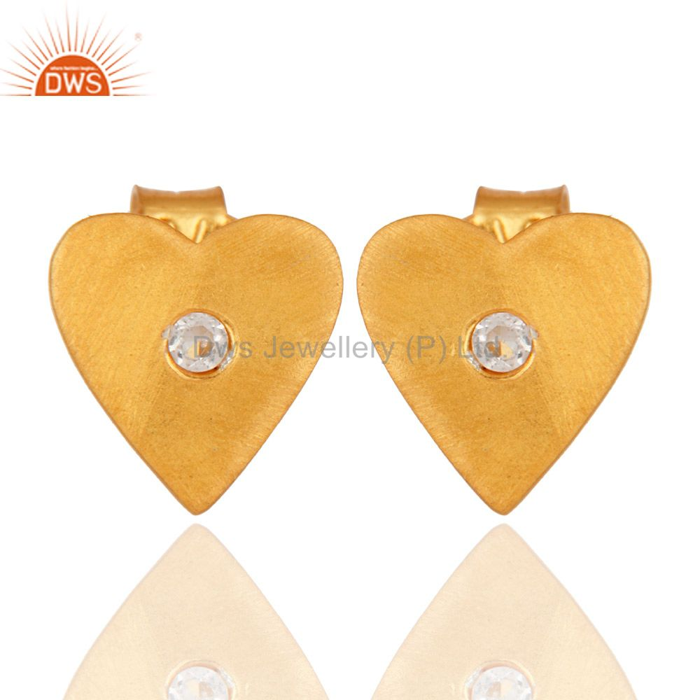 White Topaz Stud 14K Gold Plated 925 Sterling Silver Heart Design Earrings
