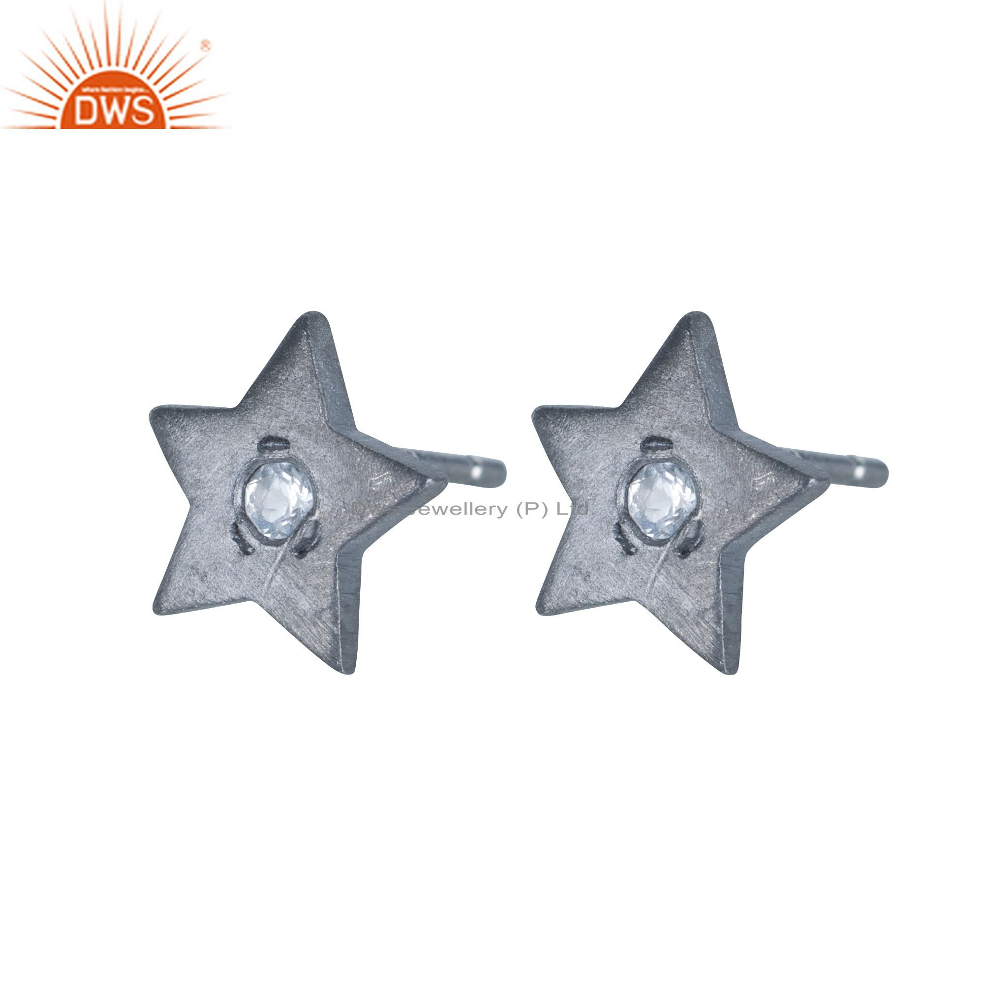 Black Rhodium Plated Sterling Silver Star Design Stud Earrings With White Topaz