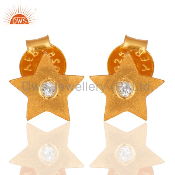18K Yellow Gold Plated Sterling Silver White Topaz Star Stud Earrings