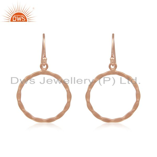 18K Rose Gold Plated Sterling Silver Hammered Circle Dangle Hook Earrings