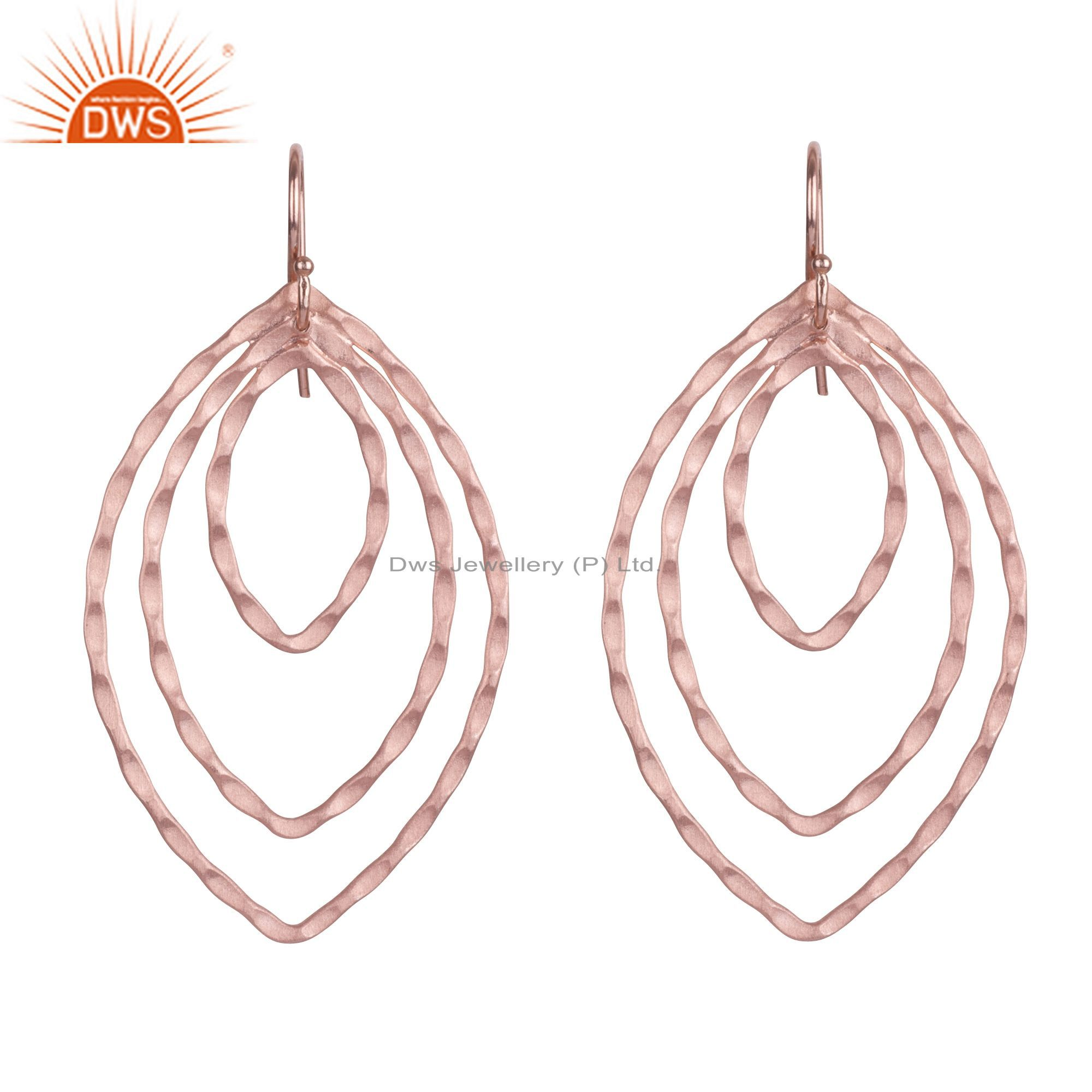 18K Rose Gold Plated Sterling Silver Hammered Circle Marquise Dangle Earrings