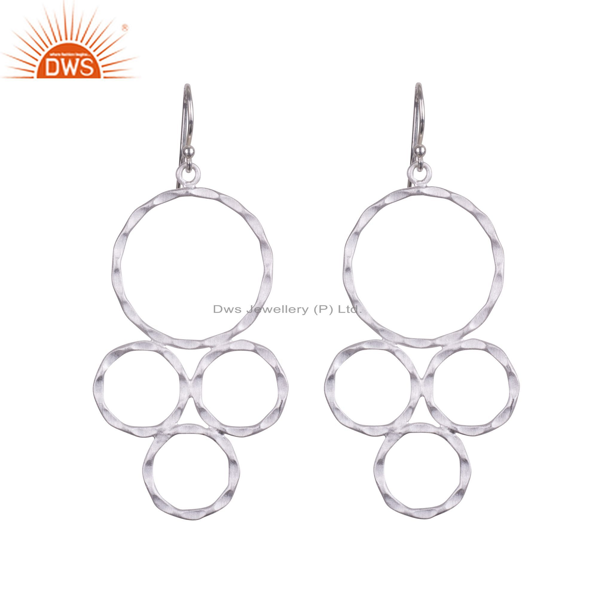 Handmade Solid Sterling Silver Hammered Multi Circle Dangle Earrings