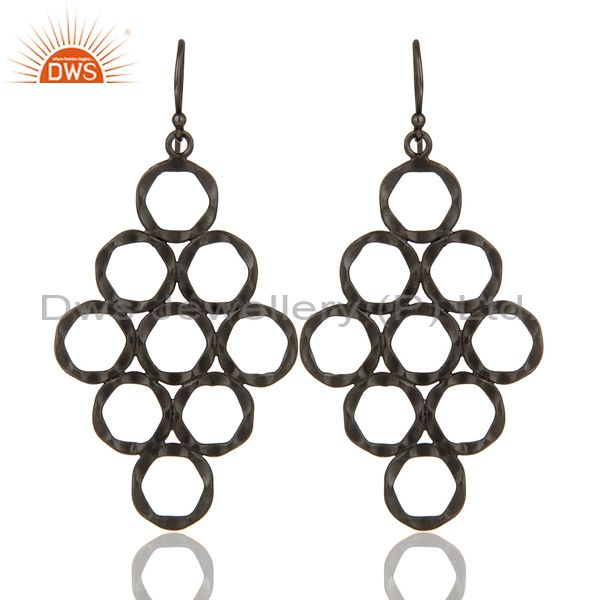 925 Sterling Silver With Oxidized Hammered Open Circle Dangle Earrings