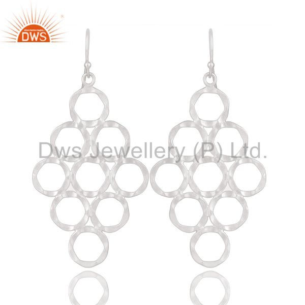 Handmade 925 Solid Sterling Silver Hammered Multi Circle Dangle Earrings