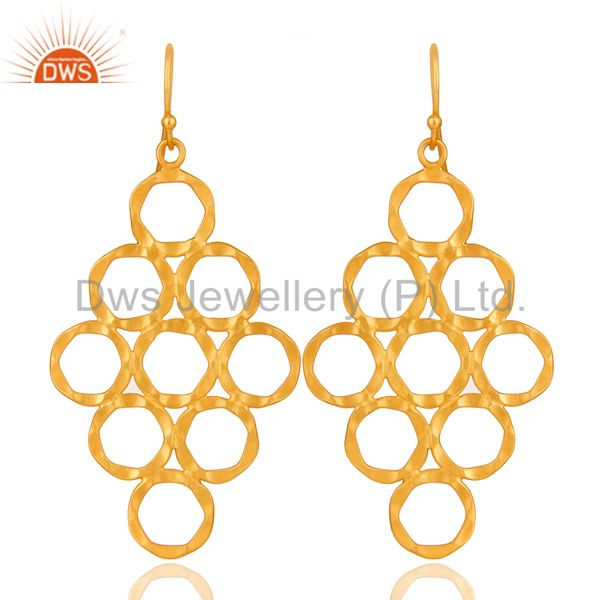 24K Yellow Gold Plated Sterling Silver Hammered Open Circle Dangle Earrings
