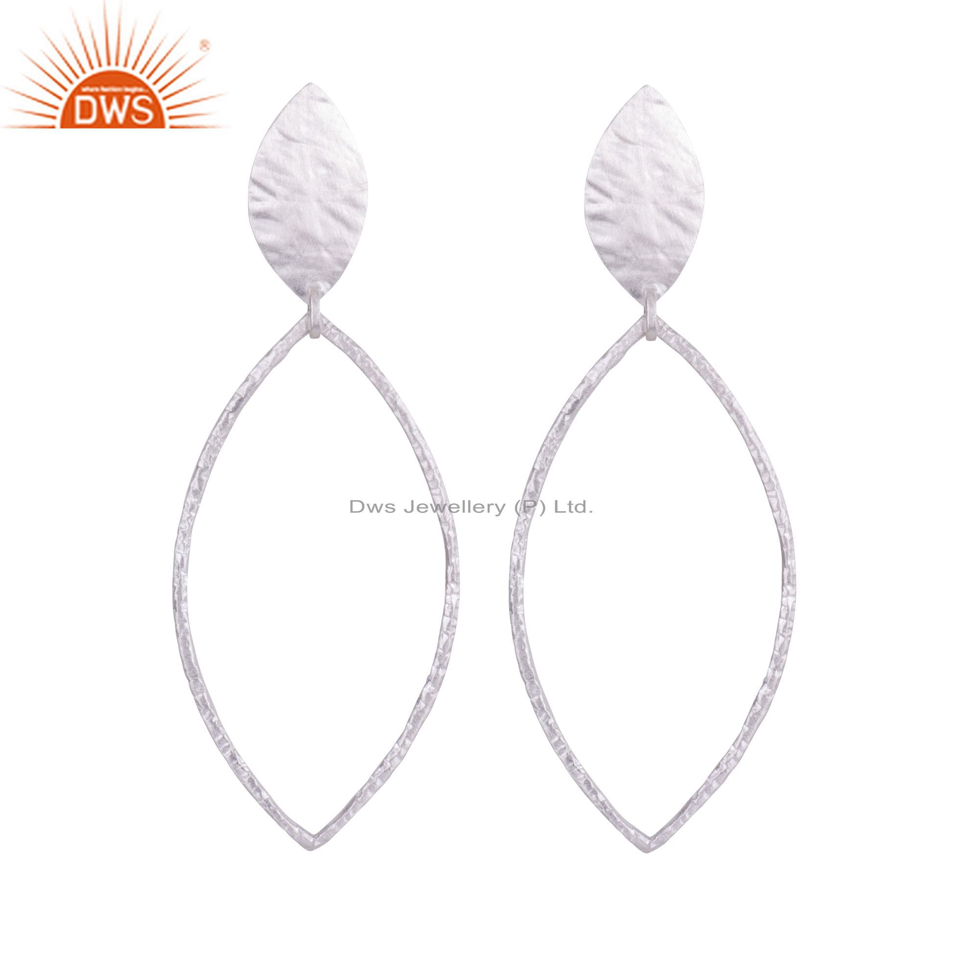 Handmade 925 Solid Sterling Silver Hammered Marquise Circle Dangle Earrings