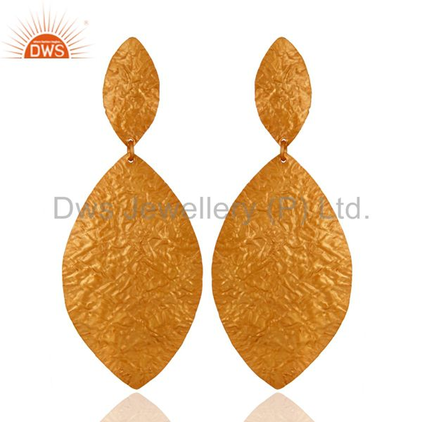 Handcrafted Solid Sterling Silver Dangle Earrings With Yellow Gold Plated