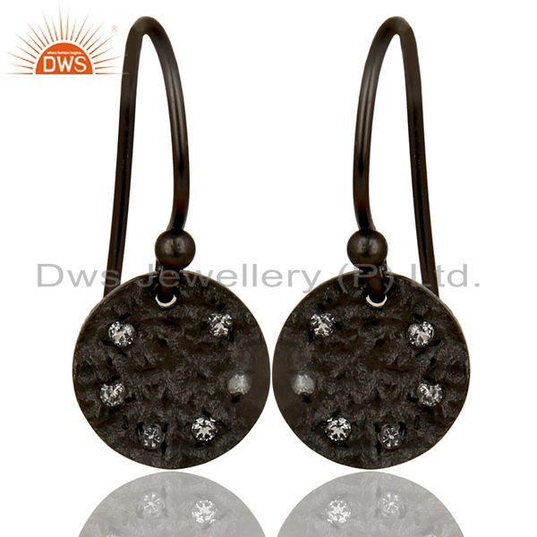 Black Oxidized 925 Sterling Silver Handmade White Topaz Drops Earrings Jewelry