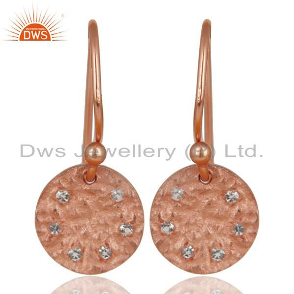14K Rose Gold Plated 925 Sterling Silver Handmade White Topaz Drops Earrings