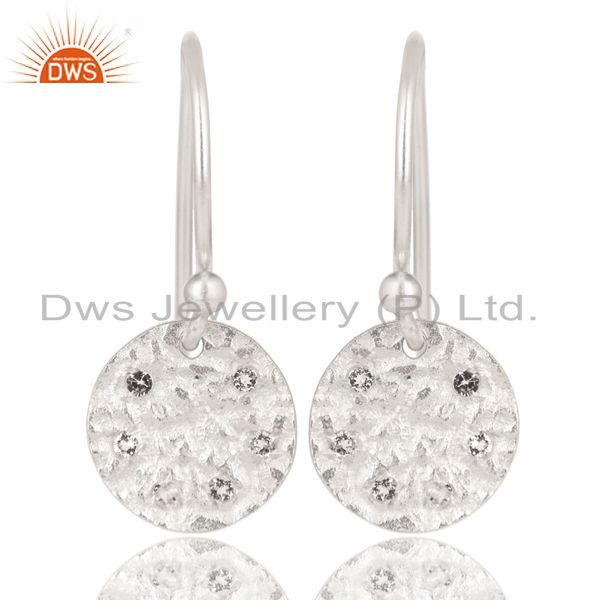 Solid 925 Sterling Silver Handmade White Topaz Disc Drops Earrings Jewelry