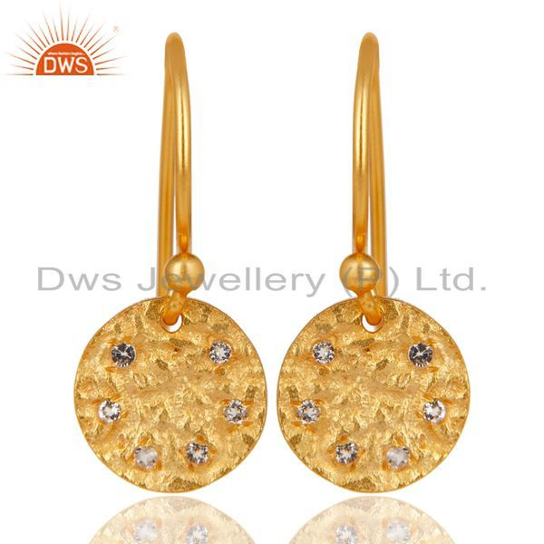 14K Yellow Gold Plated 925 Sterling Silver Handmade White Topaz Drops Earrings