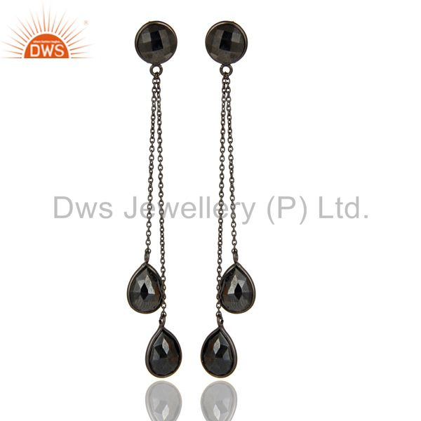 Black Oxidized 925 Sterling Silver Faceted Hematite Chain Link Dangle Earrings