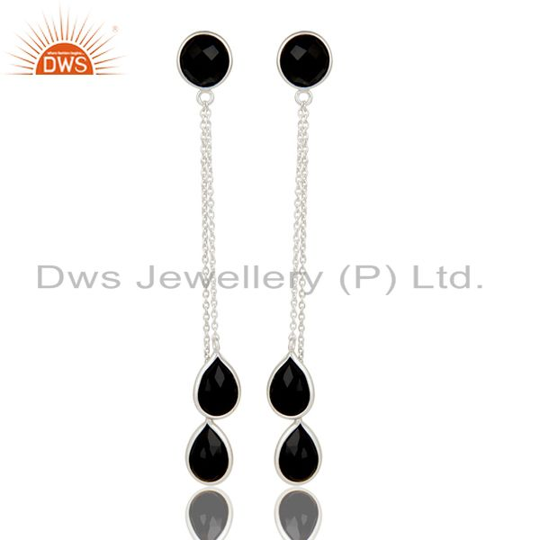 Handmade Solid 925 Sterling Silver Black Onyx Chain Link Dangle Earrings