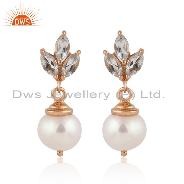 Blue topaz pearl designer rose gold plated silver drop earring