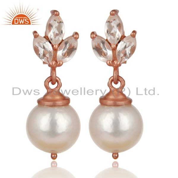 14K Rose Gold Plated 925 Sterling Silver Crystal Quartz & Pearl Drops Earrings