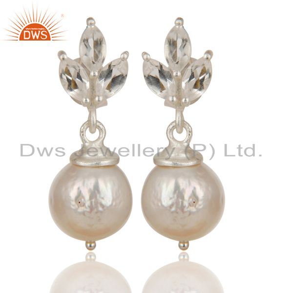 Solid 925 Sterling Silver Crystal Quartz & Pearl Beads Drops Earrings Jewelry
