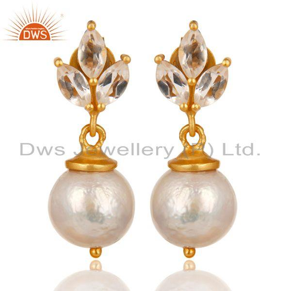 14K Gold Plated 925 Sterling Silver Crystal Quartz & Pearl Beads Drops Earrings
