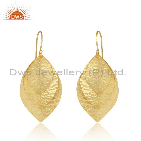 Leaf Textured Handcrafted Gold on Fashion Designer Earring