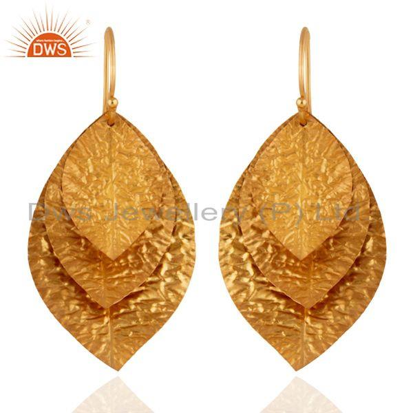 18K Yellow Gold Plated Sterling Silver Hammered Leaves Triple Drop Earrings