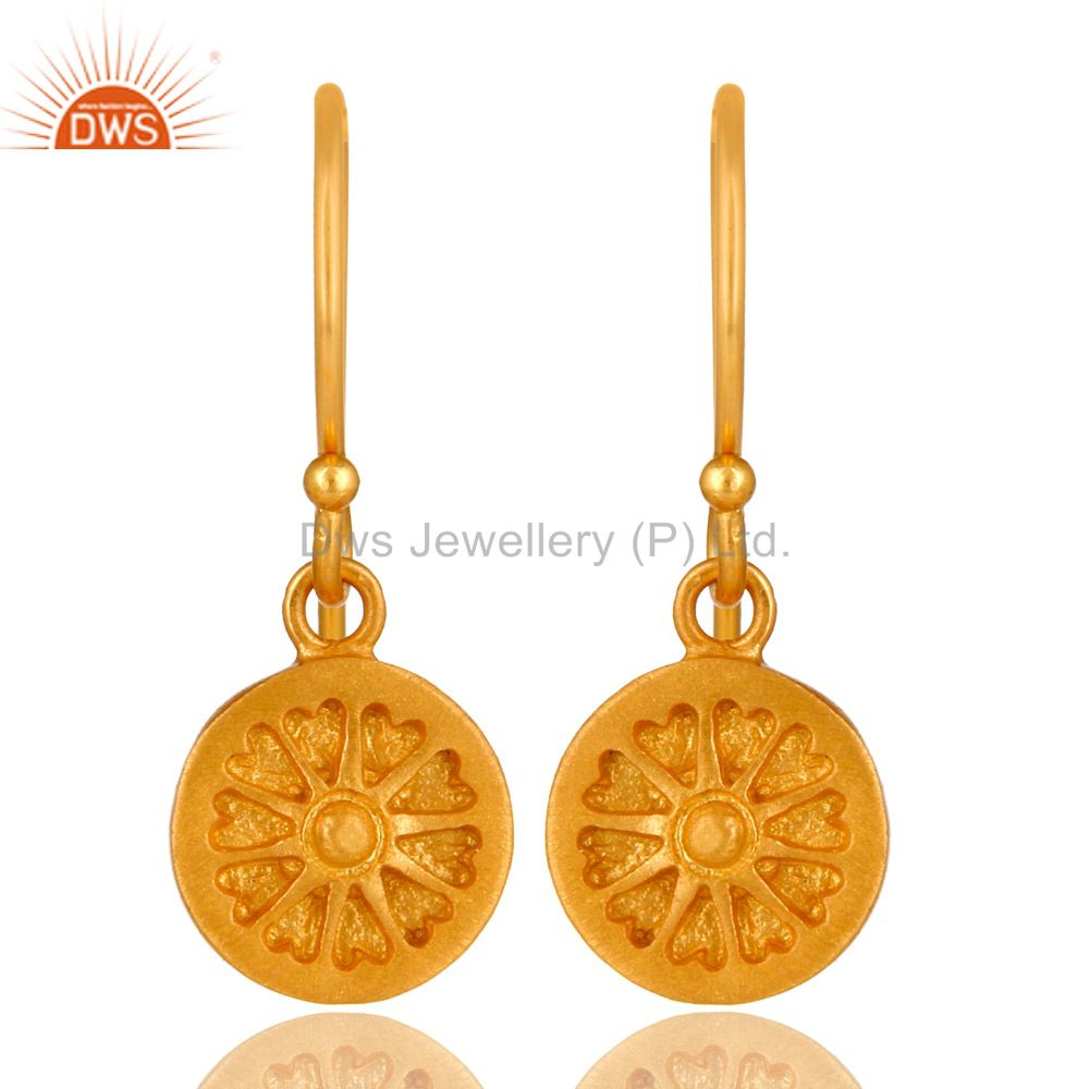 22K Yellow Gold Plated Sterling Silver Circle Dangle Earrings For Womens