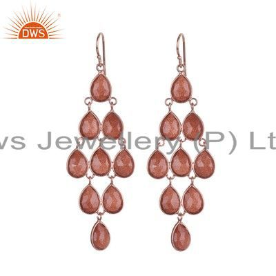 18K Rose Gold Plated Sterling Silver Red Sun Sitara Wedding Chandelier Earrings