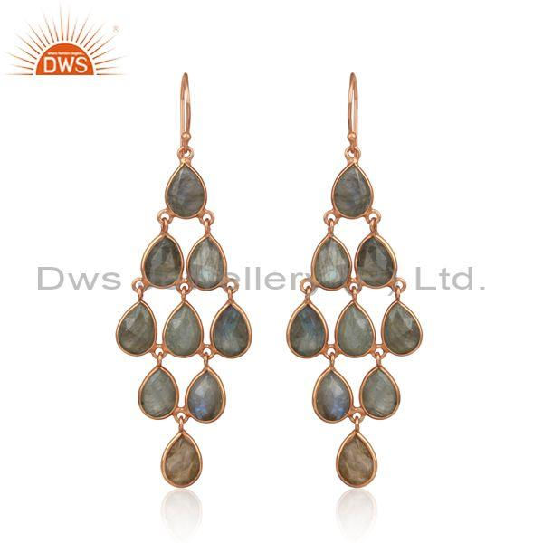 Designer Exquisite Labradorite Chandelier in Rose Gold on Silver