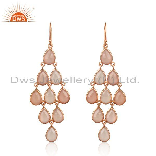 Designer Exquisite Rose Gold on Silver Rose Chalcedony Chandelier