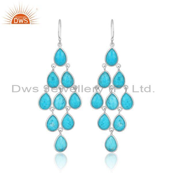 Turquoise set fine sterling silver fancy chandelier earrings