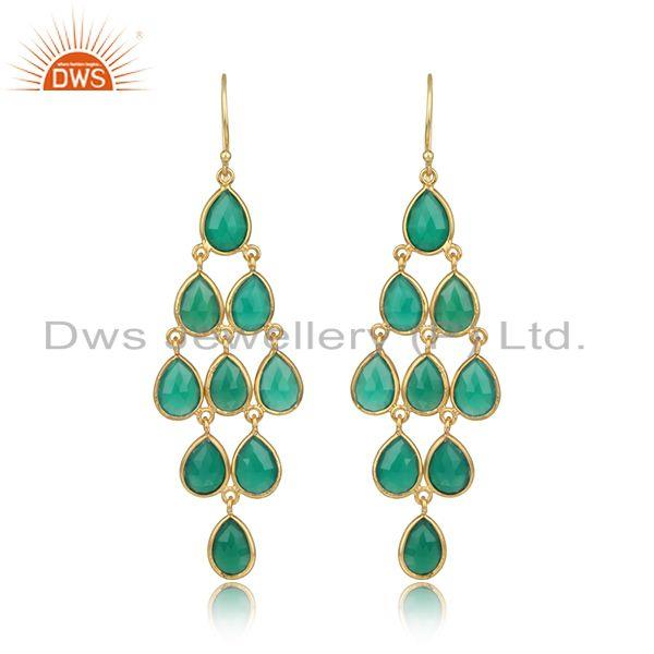 Designer exquisite green onyx chandelier in gold on silver 925