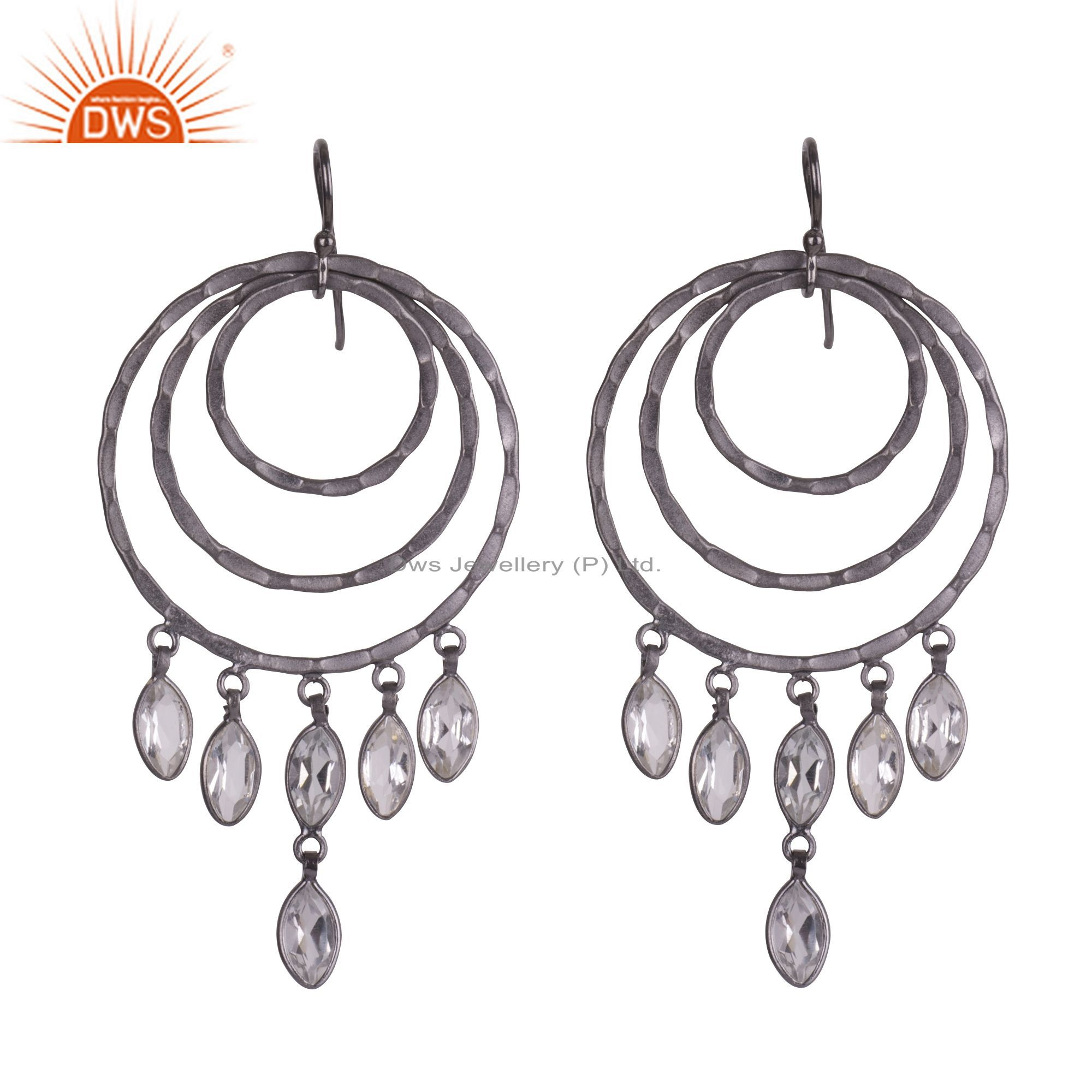 Oxidized Sterling Silver Crystal Quartz Hammered Multi Circle Chandelier Earring