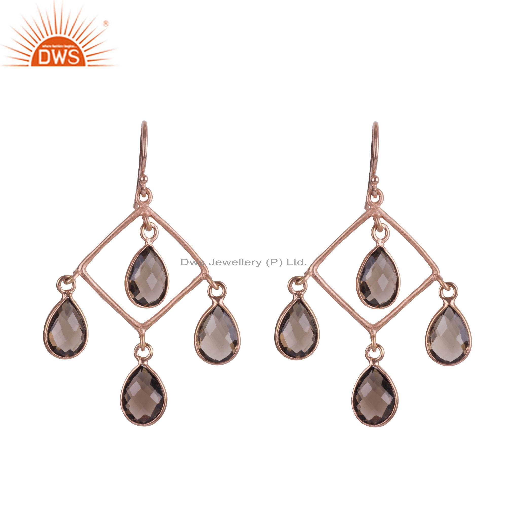 18K Rose Gold Plated Sterling Silver Smoky Quartz Wedding Chandelier Earrings