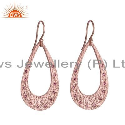 18K Rose Gold Plated Sterling Silver Pink Tourmaline Open Teardrop Earrings