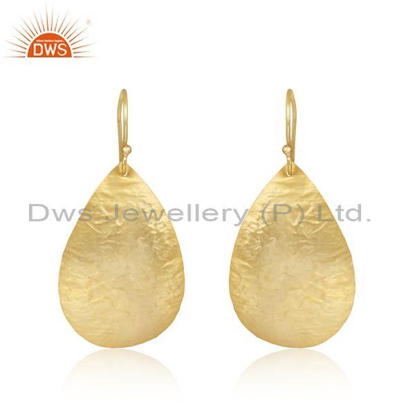 Handtextured Design Yellow Gold on Fashion Plain Earring