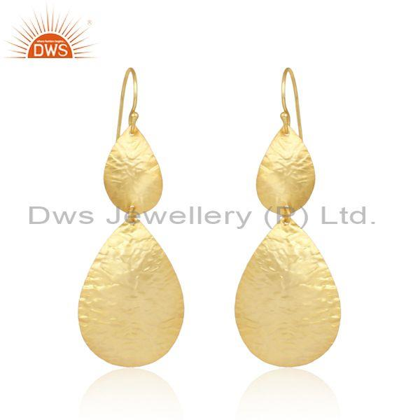 Leaf Textured Handcrafted Gold on Fashion Designer Long Dangle