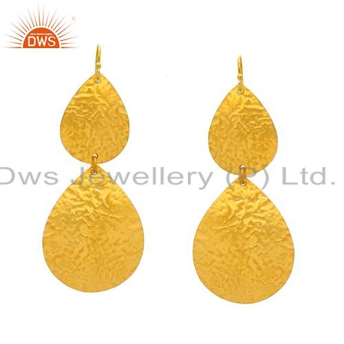 22K Yellow Gold Plated Sterling Silver Hammered Petals Drop Dangle Earrings