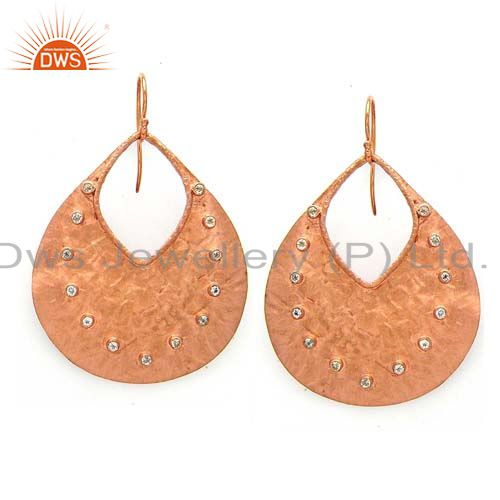 22K Rose Gold Plated Sterling Silver White Topaz Cutout Disc Dangle Earrings