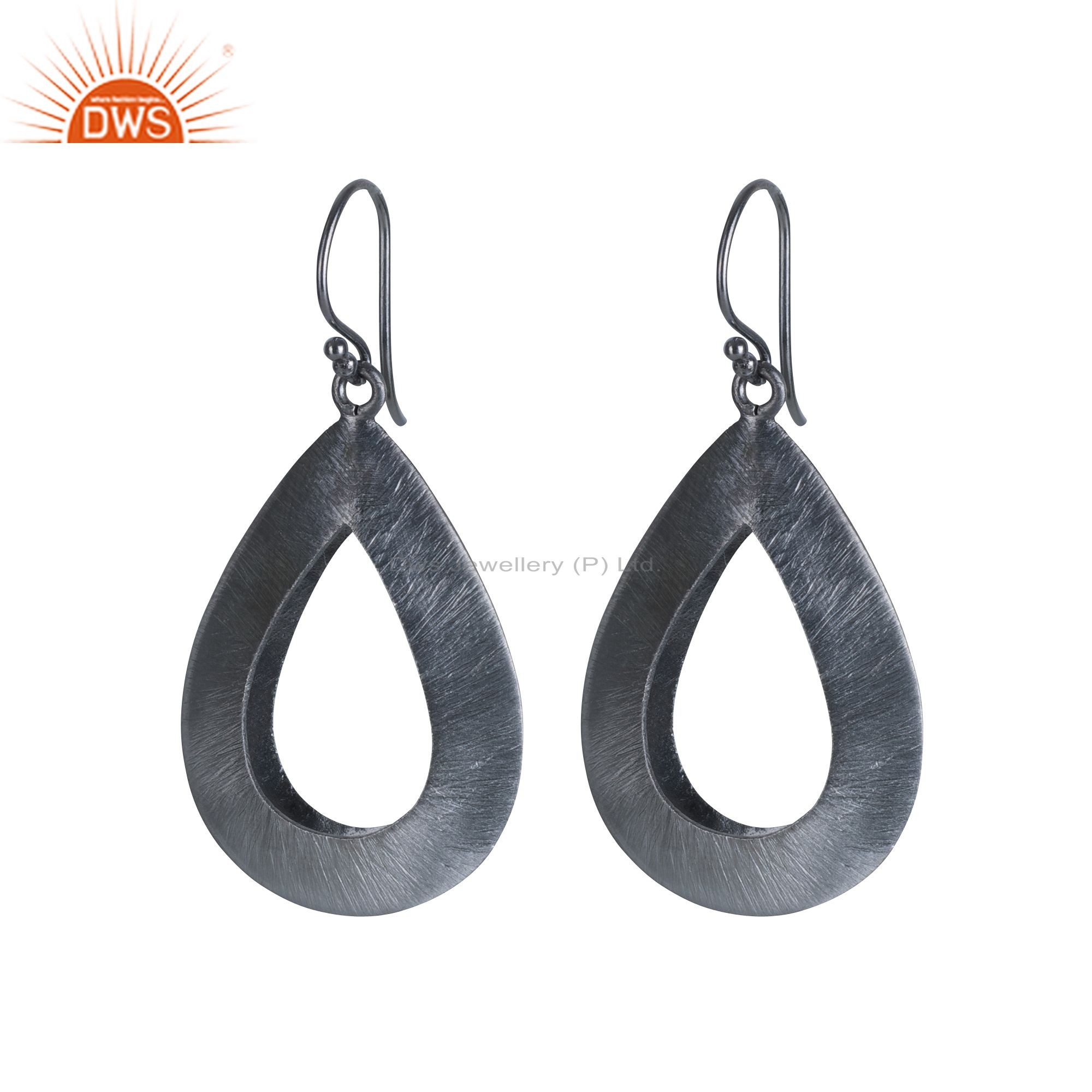 Handcrafted Oxidized Sterling Silver Brushed Finish Open Teardrop Earrings