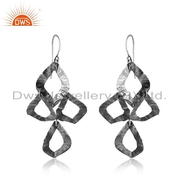 Designer Textured Dangle Earring in Oxidized Silver 925