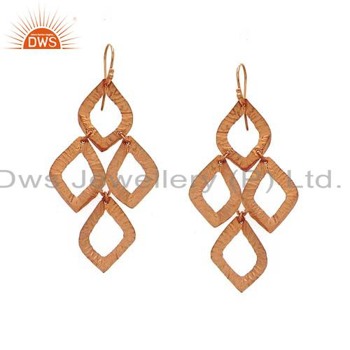 18K Rose Gold Plated Sterling Silver Hammered Open Circle Chandelier Earrings