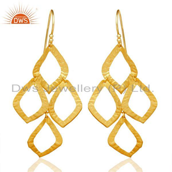18K Yellow Gold Plated Sterling Silver Cutout Dangle Earrings