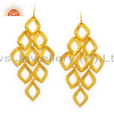 18K Yellow Gold Plated Sterling Silver Hammered Open Circle Chandelier Earrings