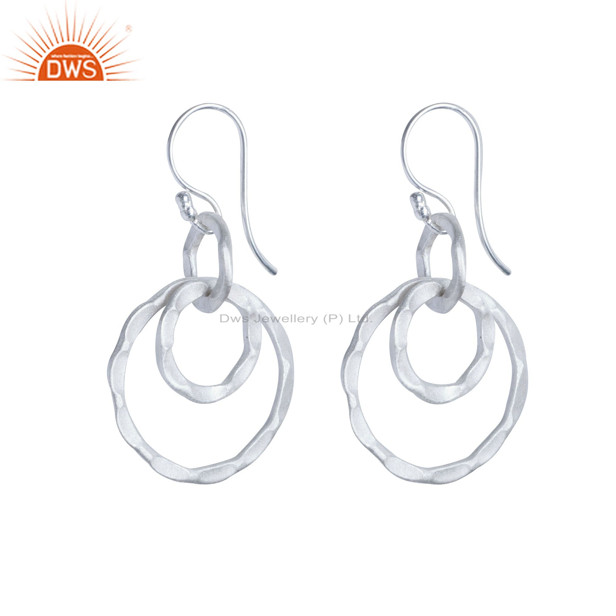 925 Solid Sterling Silver Hammered Multi Circle Dangle Earrings
