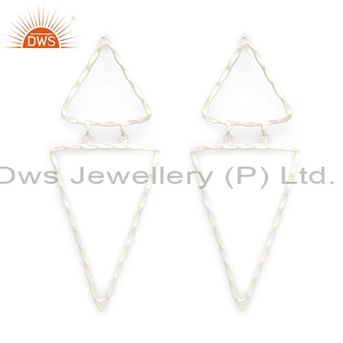 Handcrafted Solid Sterling Silver Hammered Triangle Dangle Earrings